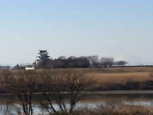 利根川の対岸から見た関宿城