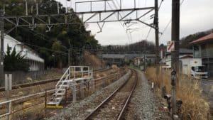 横浜線踏切から小机城の展望
