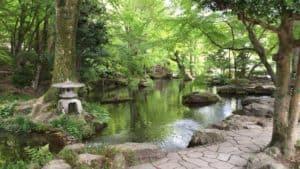 岐阜城の麓の庭園