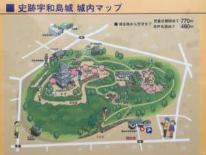 宇和島城の見学コース案内図